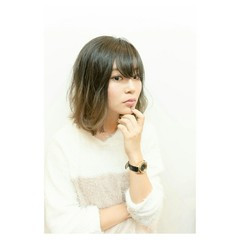 簡単 ボブ グラデーションカラー イルミナカラー ヘアスタイルや髪型の写真・画像