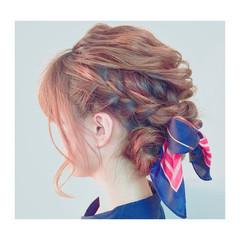簡単ヘアアレンジ ヘアアレンジ ゆるふわ ミディアム ヘアスタイルや髪型の写真・画像
