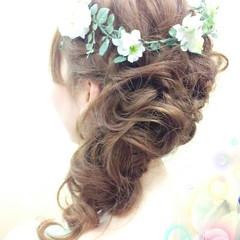 ゆるふわ 結婚式 ヘアアレンジ 花嫁 ヘアスタイルや髪型の写真・画像