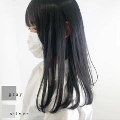 ダークアッシュ ダークカラー ダークグレー 透明感カラー ヘアスタイルや髪型の写真・画像