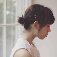 フェミニン ゆるふわ ヘアアレンジ 暗髪 ヘアスタイルや髪型の写真・画像