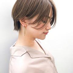 ショート 前髪なし 小顔 ウェットヘア ヘアスタイルや髪型の写真・画像