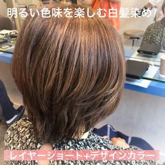 デザインカラー ショートレイヤー ショートヘア 白髪染め ヘアスタイルや髪型の写真・画像