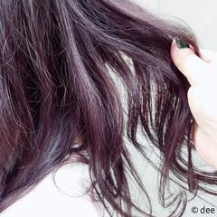 ラベンダー セミロング グラデーションカラー ラベンダーピンク ヘアスタイルや髪型の写真・画像