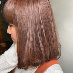 ヌーディーベージュ ピンクベージュ ミディアム ヌーディベージュ ヘアスタイルや髪型の写真・画像