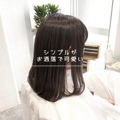 ミディアム ナチュラル 髪質改善 前髪 ヘアスタイルや髪型の写真・画像