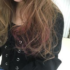 アッシュ レッド グラデーションカラー ガーリー ヘアスタイルや髪型の写真・画像