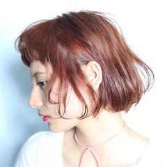 フェミニン ガーリー 切りっぱなし ボブ ヘアスタイルや髪型の写真・画像