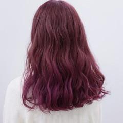 ピンク ゆるふわ ナチュラル セミロング ヘアスタイルや髪型の写真・画像