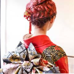 コンサバ アップスタイル 振袖 ショート ヘアスタイルや髪型の写真・画像