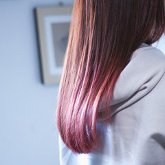 ベリーピンク ロング モーブ ナチュラル ヘアスタイルや髪型の写真・画像