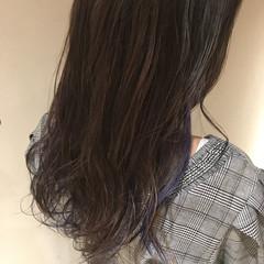 コリアンネイビー ネイビーアッシュ ネイビーカラー セミロング ヘアスタイルや髪型の写真・画像