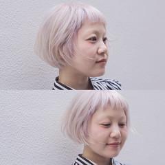 ストリート 外国人風 ショートボブ ラベンダー ヘアスタイルや髪型の写真・画像
