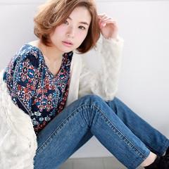 冬 色気 ショートボブ ワンカール ヘアスタイルや髪型の写真・画像