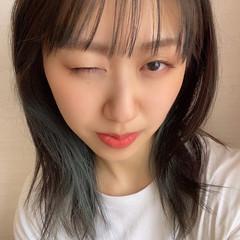 インナーグリーン ヴィーナスコレクション ナチュラル可愛い セミロング ヘアスタイルや髪型の写真・画像