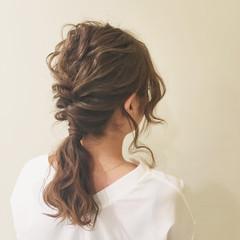 ゆるふわ ポニーテール フェミニン ミディアム ヘアスタイルや髪型の写真・画像