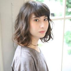 外国人風 セミロング 大人かわいい パーマ ヘアスタイルや髪型の写真・画像
