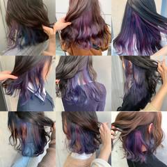 ストリート インナーカラー インナーカラーパープル インナーブルー ヘアスタイルや髪型の写真・画像
