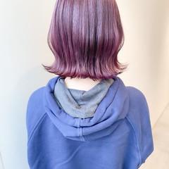 ボブ ラベンダーピンク ミニボブ ラベンダーアッシュ ヘアスタイルや髪型の写真・画像