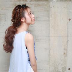 和装 夏 簡単ヘアアレンジ セミロング ヘアスタイルや髪型の写真・画像