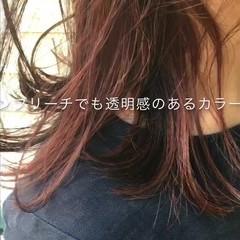 ストリート ピンク セミロング インナーカラー ヘアスタイルや髪型の写真・画像
