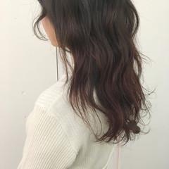 ガーリー グラデーションカラー セミロング ピンクアッシュ ヘアスタイルや髪型の写真・画像