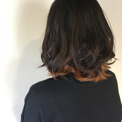 インナーカラー ナチュラル ブリーチ 無造作 ヘアスタイルや髪型の写真・画像