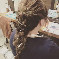 編み込み 二次会 ヘアアレンジ ロング ヘアスタイルや髪型の写真・画像