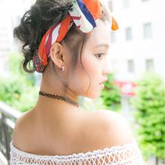 ゆるふわ 簡単ヘアアレンジ 夏 ショート ヘアスタイルや髪型の写真・画像