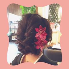 和装 編み込み セミロング 和服 ヘアスタイルや髪型の写真・画像