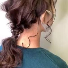 セミロング ヘアアレンジ 編みおろしヘア 簡単ヘアアレンジ ヘアスタイルや髪型の写真・画像