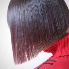 モード ボブ 暗髪 イルミナカラー ヘアスタイルや髪型の写真・画像