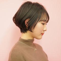 ショートボブ 前髪 ショート ナチュラル ヘアスタイルや髪型の写真・画像