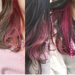ラベンダーピンク インナーカラー セミロング フェミニン ヘアスタイルや髪型の写真・画像