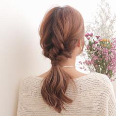 ショート こなれ感 ポニーテール 三つ編み ヘアスタイルや髪型の写真・画像