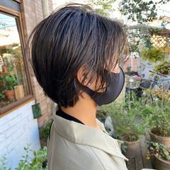 透明感カラー 極細ハイライト ナチュラル ショート ヘアスタイルや髪型の写真・画像