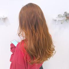 オレンジベージュ ナチュラル 外国人風 透明感 ヘアスタイルや髪型の写真・画像