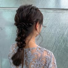 編みおろし フェミニン 上品 ロング ヘアスタイルや髪型の写真・画像
