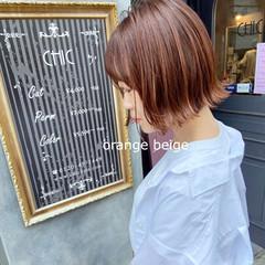 ボブ 切りっぱなしボブ オレンジベージュ ナチュラル ヘアスタイルや髪型の写真・画像