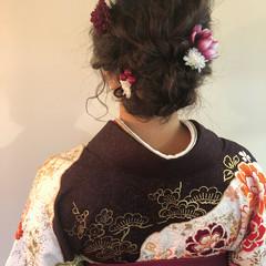 結婚式 セミロング ヘアアレンジ フェミニン ヘアスタイルや髪型の写真・画像
