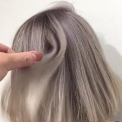 ボブ ガーリー 透明感 ブリーチ ヘアスタイルや髪型の写真・画像