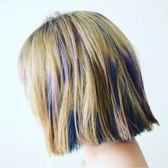 カラフルカラー 外ハネ ビビッドカラー モード ヘアスタイルや髪型の写真・画像
