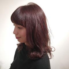 ミディアム ゆるふわ ピンクブラウン ナチュラル ヘアスタイルや髪型の写真・画像