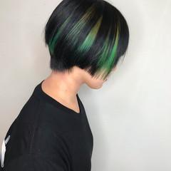 モード メッシュ グリーン インナーグリーン ヘアスタイルや髪型の写真・画像