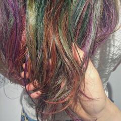 ヘアアレンジ アッシュ レッド ハイライト ヘアスタイルや髪型の写真・画像