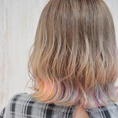 ユニコーンカラー ブルー ボブ オレンジ ヘアスタイルや髪型の写真・画像