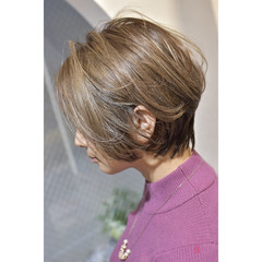 ハイトーンカラー ハンサムショート 大人ショート ショート ヘアスタイルや髪型の写真・画像