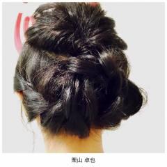 ガーリー ヘアアレンジ くるりんぱ セミロング ヘアスタイルや髪型の写真・画像