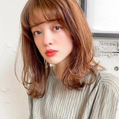ゆるふわパーマ ミディアム 小顔 デジタルパーマ ヘアスタイルや髪型の写真・画像