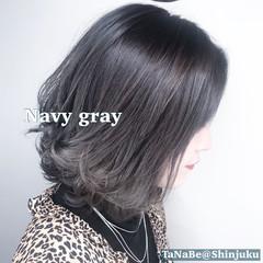 ベリーショート インナーカラー セミロング 切りっぱなしボブ ヘアスタイルや髪型の写真・画像